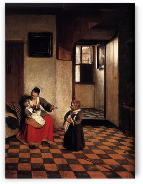 A woman with a baby in her lap and a small child by Pieter de Hooch