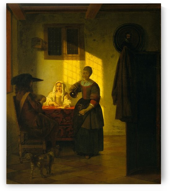 A couple playing cards, with a serving woman by Pieter de Hooch