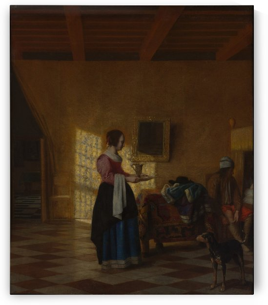 Woman with a water pitcher, and a man by a bed by Pieter de Hooch