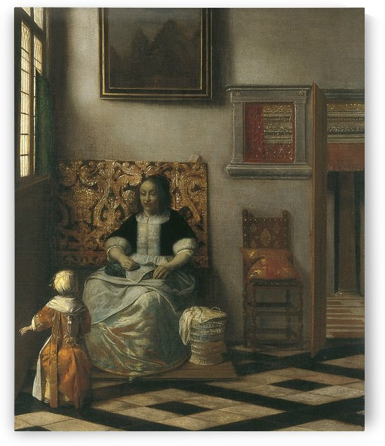 Interior with a woman sewing and a child by Pieter de Hooch