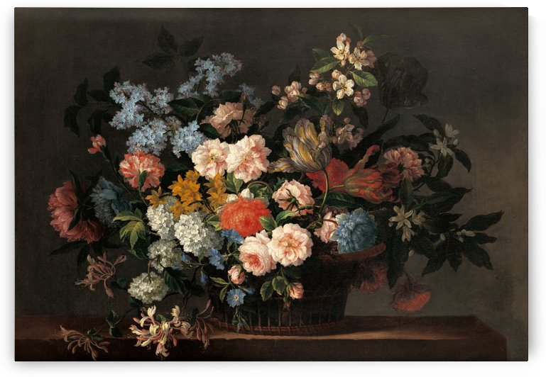 Still life with basket of flowers by Jean Baptiste Monnoyer