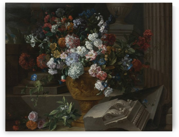 Still life with flowers in a sculpted urn with architectural fragments on a terrace by Jean Baptiste Monnoyer