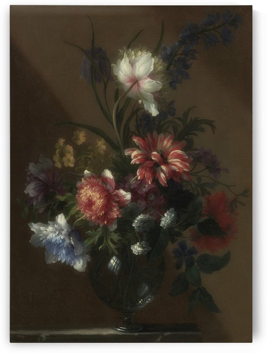 Bouquet of flowers in a glass vase by Jean Baptiste Monnoyer