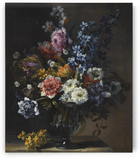 A still life with tulips, a hyacinth, and other flowers in a glass vase on a stone plinth by Jean Baptiste Monnoyer
