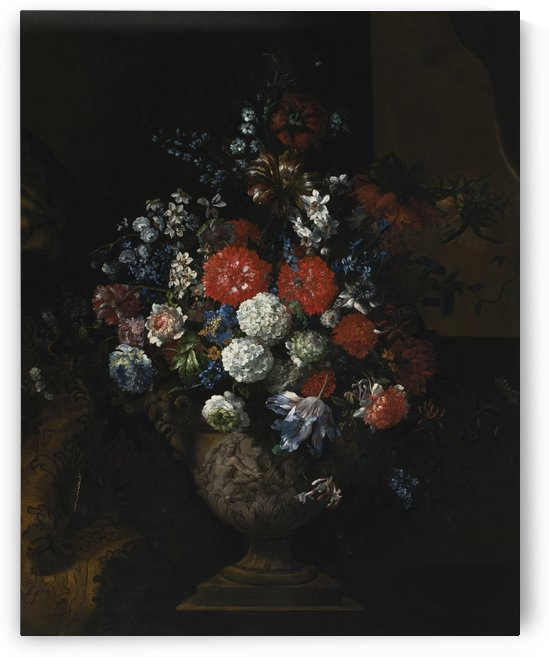 Still life of flowers, including tulips, roses, poppies and viburnum in a sculpted urn,resting on a stone plinth by Jean Baptiste Monnoyer