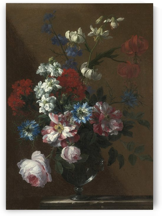 Flowers in a glass vase by Jean Baptiste Monnoyer
