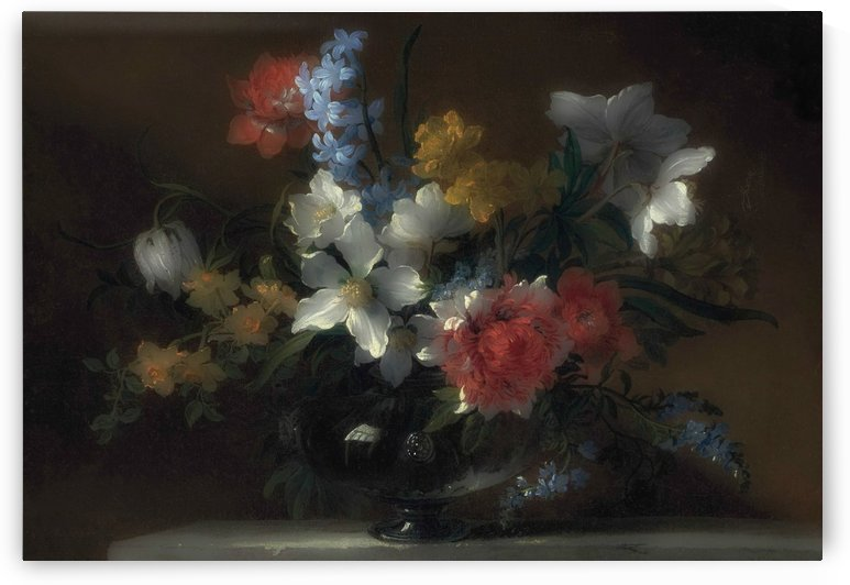 Narcissi, hyacinths, forget-me-nots and other flowers in a glass vase by Jean Baptiste Monnoyer