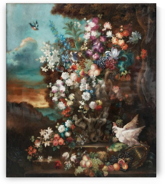 Flowers and birds by Jean Baptiste Monnoyer