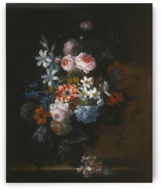 Still life of roses, honeysuckle, lillies, chrysanthemums, narcissi and other flowers in a vase by Jean Baptiste Monnoyer