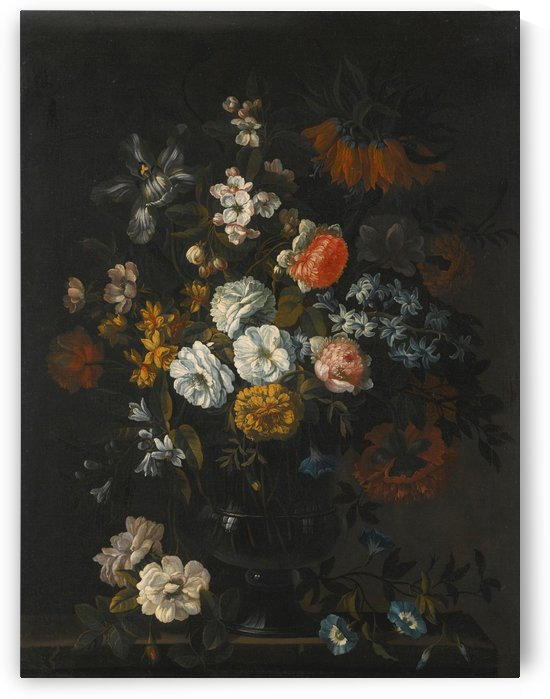 Still Life of Peonies, Narcissi, an Iris and other flowers in a glass vase on a stone ledge by Jean Baptiste Monnoyer