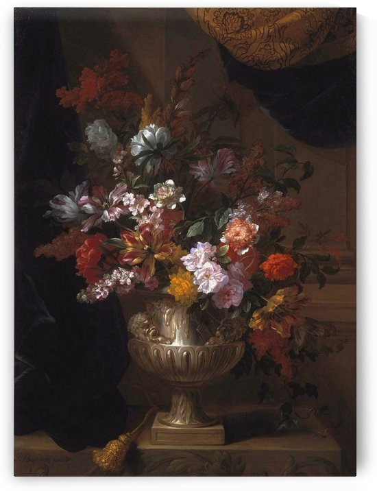 Flowers in a sculpted urns on a ledges by Jean Baptiste Monnoyer