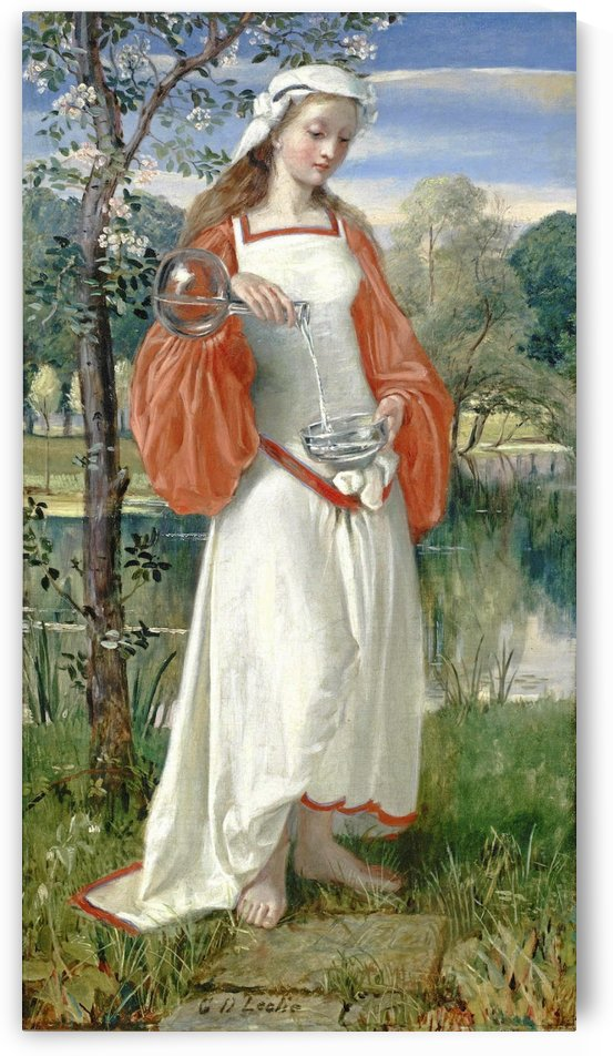 Allegorical Maiden in white dress by George Dunlop Leslie