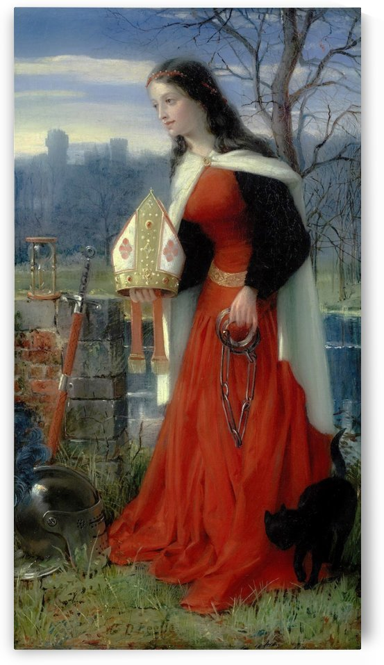 Allegorical Maiden in red dress by George Dunlop Leslie