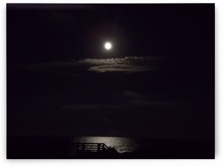 Moon over Docks and Pier by Tammy Shook aka Kelra
