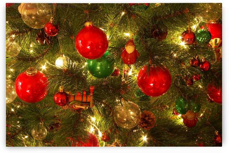 Decorated Christmas tree on blurred, sparkling and fairy background by Levente Bodo