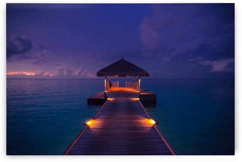 Idyllic arbor on water, Maldive Islands by Levente Bodo