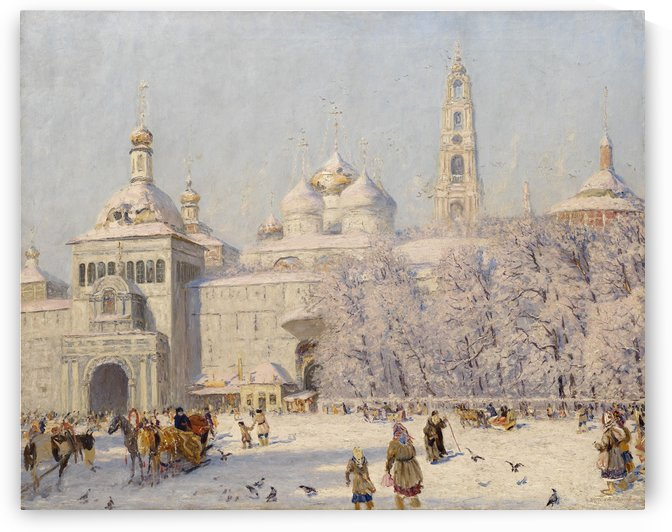 Winter landscape with figures outside the city by Nikolay Dubovskoy