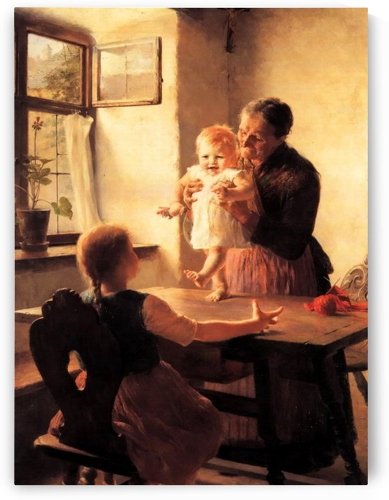 An old woman and two children by Georgios Jakobides