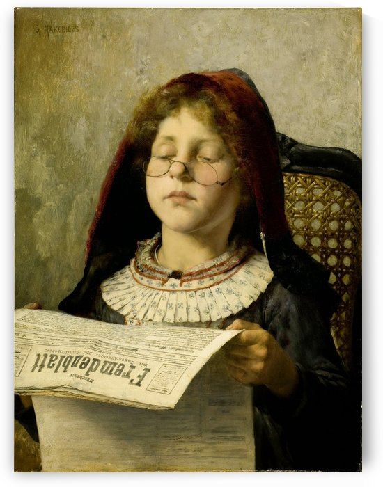 Girl reading the paper by Georgios Jakobides