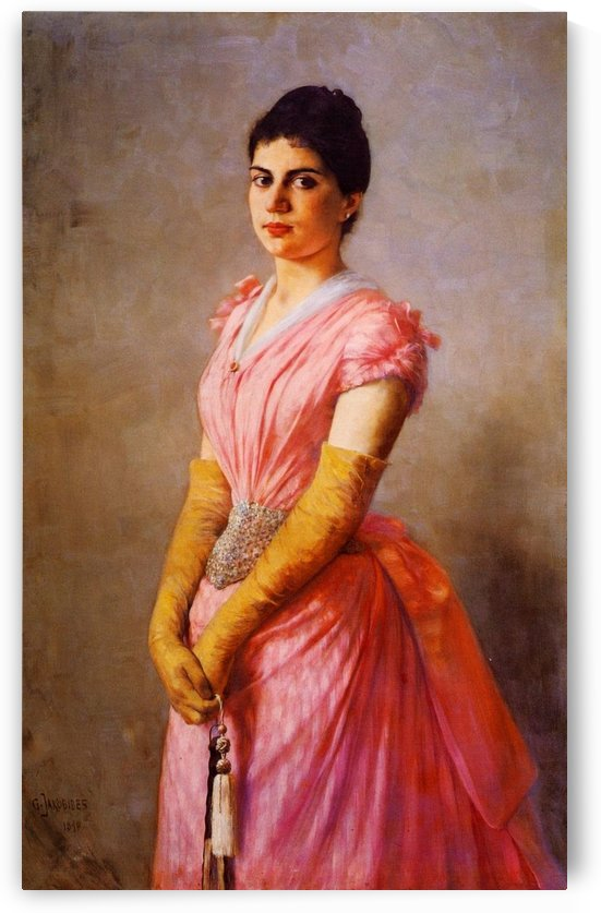 Lady in pink dress by Georgios Jakobides