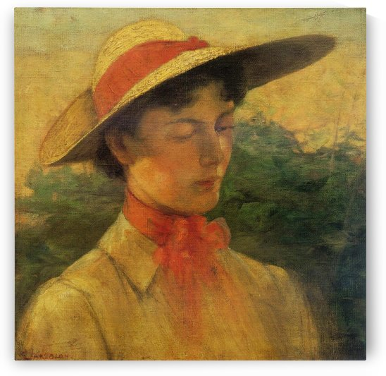Portrait of a lady with hat by Georgios Jakobides
