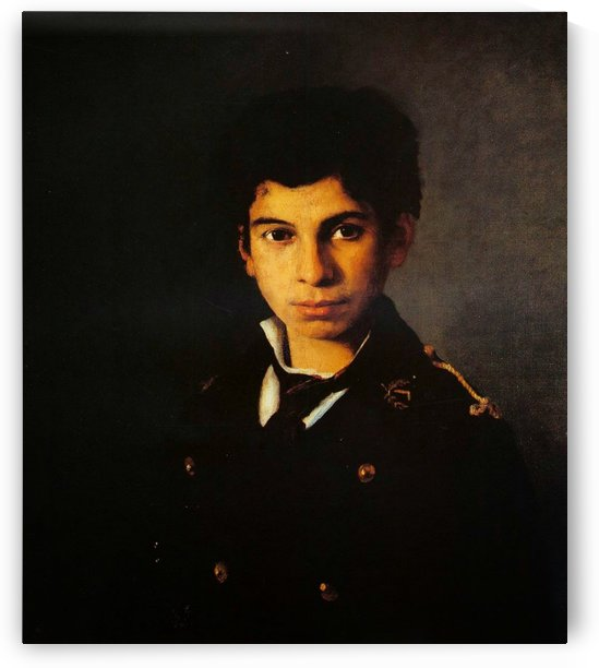 Portrait of a child in military uniform by Georgios Jakobides