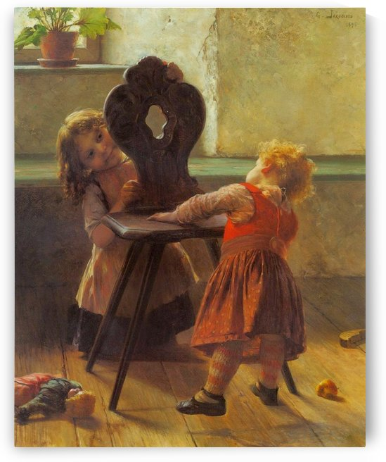 Children playing with chair by Georgios Jakobides