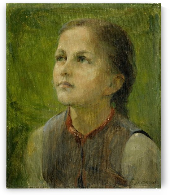 Little girl in the fields by Georgios Jakobides