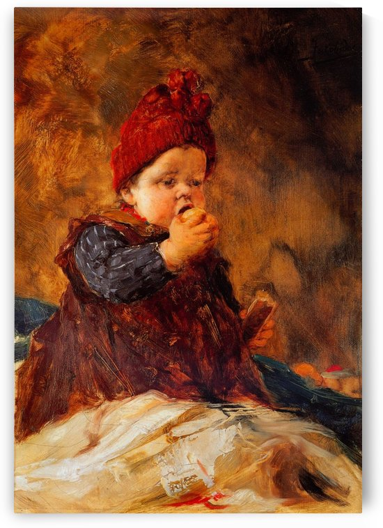 Baby eating fruit by Georgios Jakobides