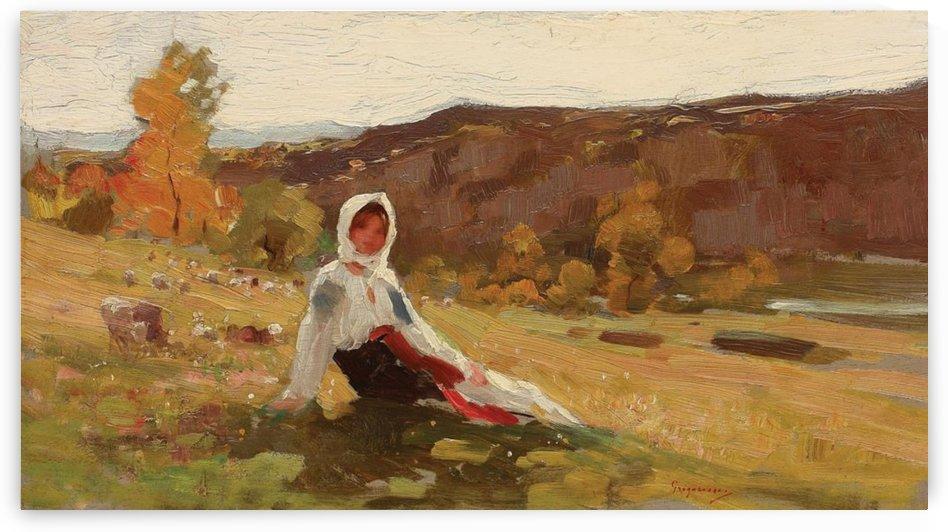 The shepherdess by Myles Birket Foster