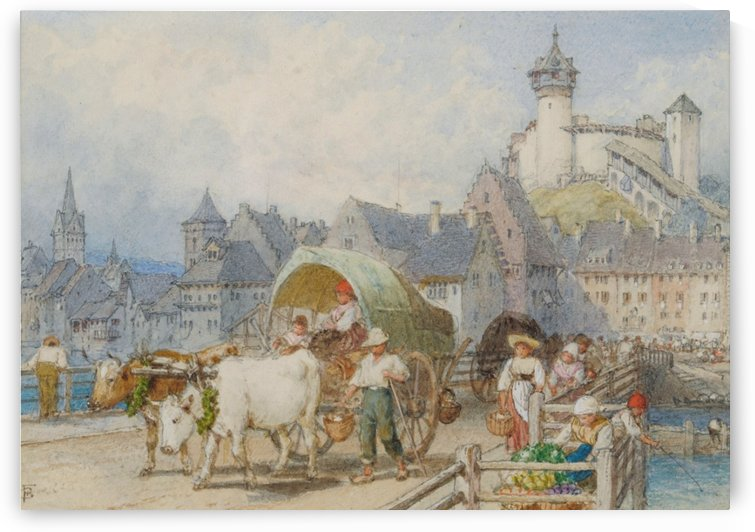 Continental Town with Ox-Cart and Figures by Myles Birket Foster