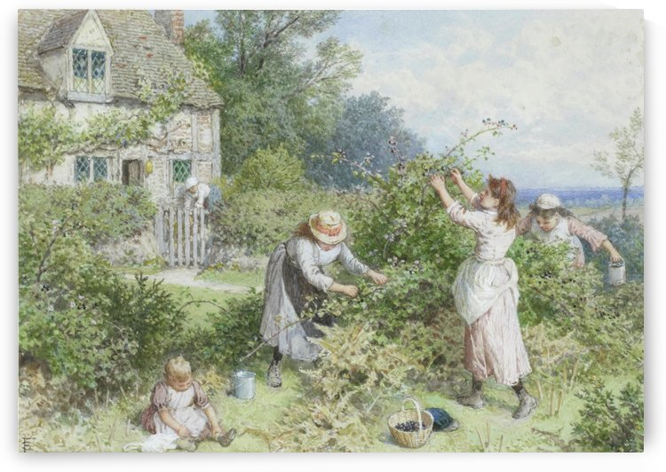 Children gathering blackberries by Myles Birket Foster