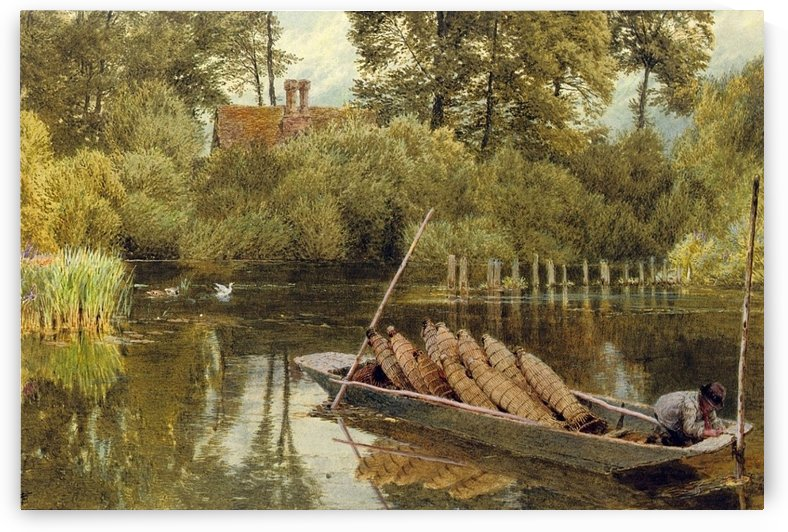 The young eel angler by Myles Birket Foster