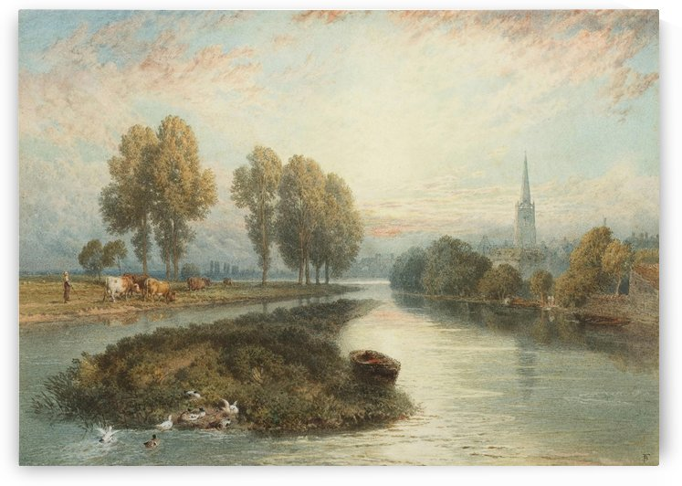 Cattle along a river by Myles Birket Foster