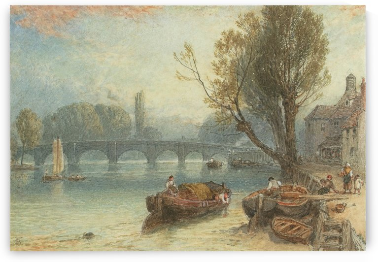 Kew bridge from strand on the green by Myles Birket Foster