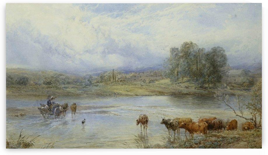 Crossing the river Tyne near Ovington by Myles Birket Foster