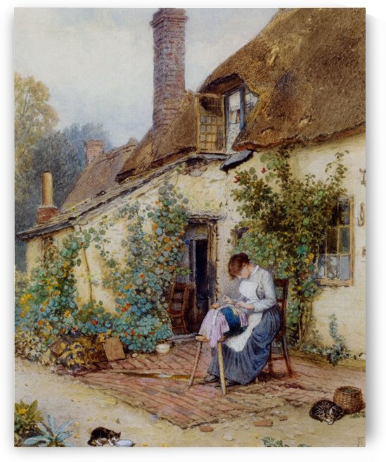 A lace maker by Myles Birket Foster