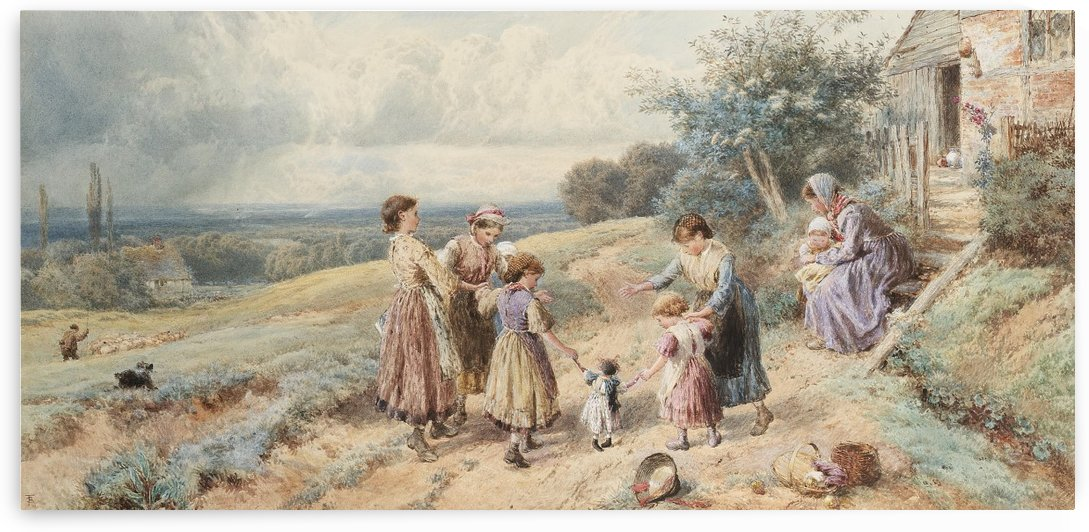 Teaching Dolly to walk by Myles Birket Foster