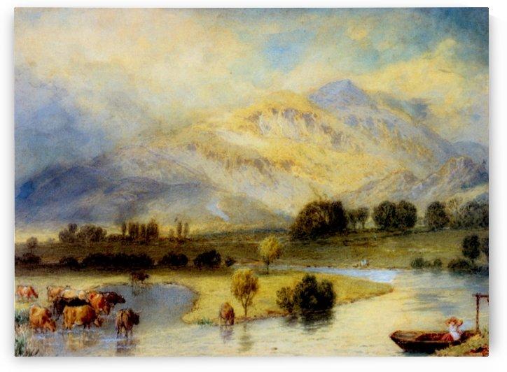 Cattle watering by Myles Birket Foster