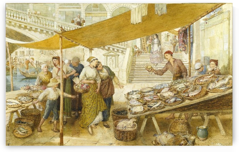 The fish market on the steps of the Rialto Bridge by Myles Birket Foster