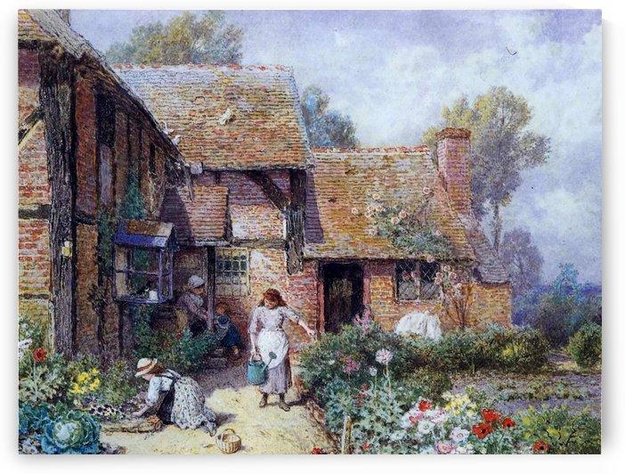 An afternoon in the garden by Myles Birket Foster