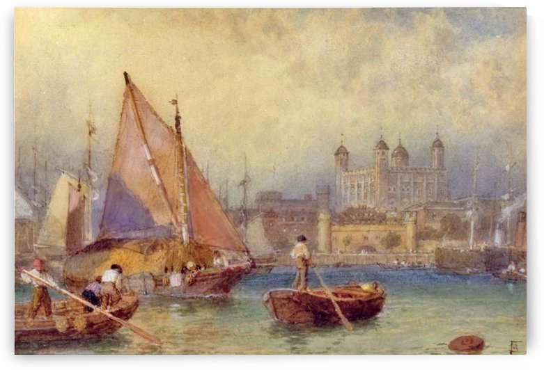 The Tower of London from the Thames by Myles Birket Foster