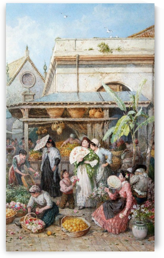 A fruit and vegetable market in Spain by Myles Birket Foster