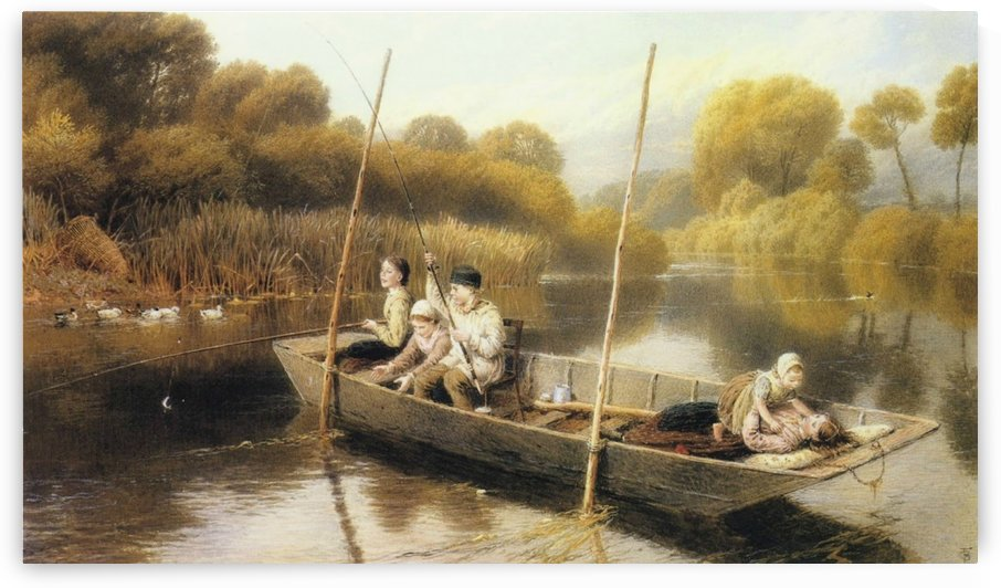 Boys fishing from a punt by Myles Birket Foster