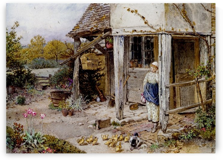 Girl outside a cottage by Myles Birket Foster