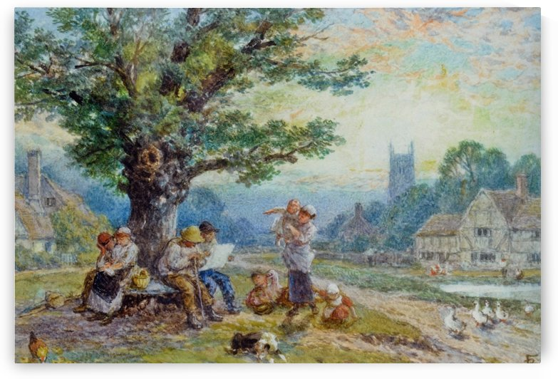 Figures in the center of the village by Myles Birket Foster