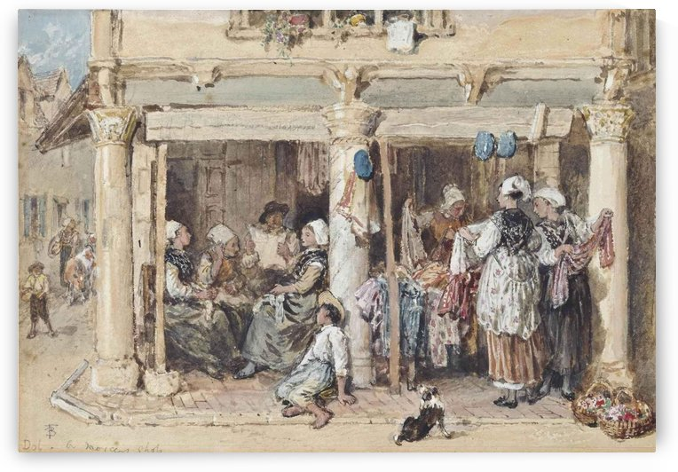 A mercer's shop in the Dolomites, Italy by Myles Birket Foster