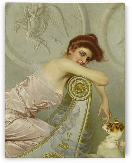 The white dog by Vittorio Matteo Corcos