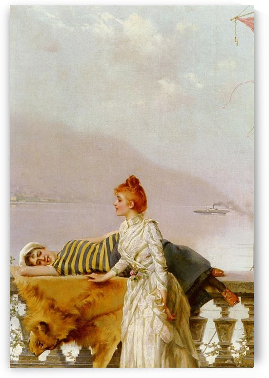 On the balcony by Vittorio Matteo Corcos