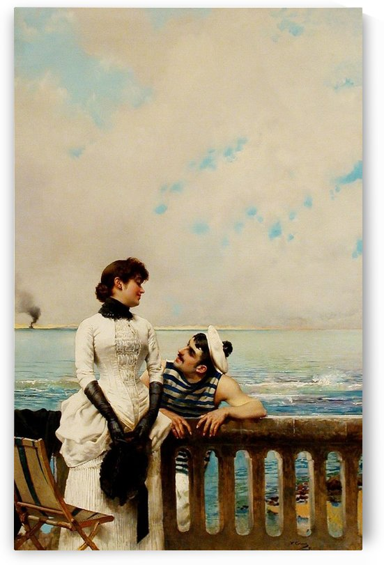 Watching the sea from the balcony by Vittorio Matteo Corcos